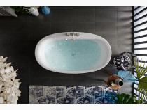 """Kohler Sunstruck®60"""" x 34"""" oval freestanding bath with straight shroud and center drain in Biscuit"""