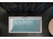 """Kohler Stargaze®60"""" x 34"""" freestanding bath with straight shroud and center drain in White"""