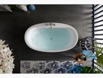 "Kohler Sunstruck®65-1/2"" x 35-1/2"" oval freestanding bath with straight shroud and center drain in White"