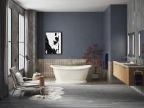"""Kohler Artifacts™66"""" x 33"""" freestanding bath with Biscuit exterior in Biscuit"""