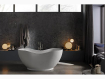 "Kohler Abrazo®66"" x 32"" freestanding bath with center toe-tap drain in Honed White"