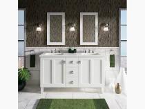 """Kohler Poplin®60"""" bathroom vanity cabinet with legs, 2 doors and 3 drawers in Mohair Grey"""