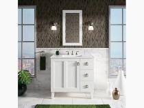 "Kohler Poplin®36"" bathroom vanity cabinet with legs, 1 door and 3 drawers on right in Claret Suede"
