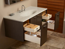 "Kohler Jute®48"" wall-hung bathroom vanity cabinet with 2 doors and 2 drawers in Mohair Grey"