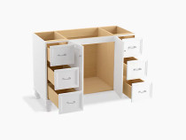 """Kohler Damask®48"""" bathroom vanity cabinet with furniture legs, 2 doors and 6 drawers in Linen White"""