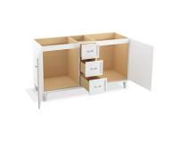 "Kohler Damask®60"" bathroom vanity cabinet with furniture legs, 2 doors and 3 drawers in Claret Suede"