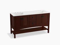 """Kohler Marabou®60"""" bathroom vanity cabinet with 4 doors and 2 drawers in Cherry Tweed"""
