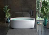 Jacuzzi ARGA™ 6934 FREESTANDING SWIRLPOOL™ CENTER DRAIN BATH WITH ILLUMATHERAPY™ WHISPER+ WHITE GLOSS