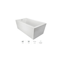 """Jacuzzi Bianca 66"""" Soaking Freestanding Bathtub with Seamless Luxetech™ Finishing in white"""