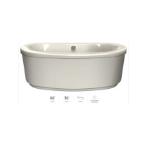 """Jacuzzi Bravo 66"""" Soaking Freestanding Bathtub with Center Drain in Oyster"""