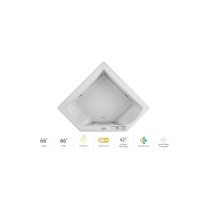 """Jacuzzi 66"""" x 66"""" Fuzion Drop In Corner Luxury Whirlpool Bathtub with 15 Jets, LCD Controls, Illumatherapy, Heater - Integrated Drain Assembly Included in White"""