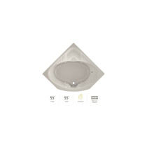 """Jacuzzi 55"""" x 55"""" Capella® Drop In Corner Comfort Whirlpool Bathtub with 8 Jets, Basic Controls, Heater, Center Drain and Right Pump in Oyster"""