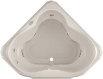 "Jacuzzi 60"" x 60"" Bellavista Drop In Corner Luxury Salon Spa Bathtub with 10 Jets, LCD Controls, Illumatherapy, Heater, Center Drain and Right Pump in Oyster"