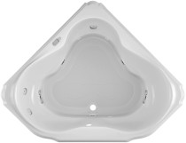"Jacuzzi 60"" x 60"" Bellavista Drop In Corner Luxury Salon Spa Bathtub with 10 Jets, LCD Controls, Illumatherapy, Heater, Center Drain and Right Pump in White"