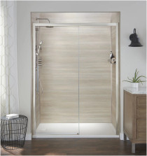 """Jacuzzi 76"""" High x 48"""" Wide Sliding Semi-Frameless Shower Door with Clear Glass in Brushed Nickel"""