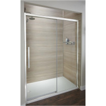 """Jacuzzi 76"""" High x 48"""" Wide Sliding Semi-Frameless Shower Door with Clear Glass in Chrome"""