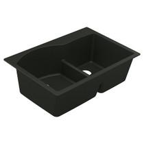 """Moen Granite Series 33""""X22"""" Granite Granite Double Bowl Undermount Or Drop In Sink in Black"""