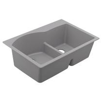 """Moen Granite Series 33""""X22"""" Granite Granite Double Bowl Undermount Or Drop In Sink in Grey"""