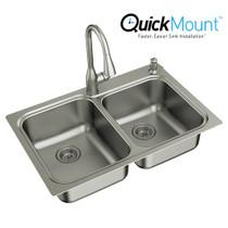 "Moen Kelsa Faucet & Sink Combination - 33""X22"" 18 Gauge Stainless Steel Double Bowl"