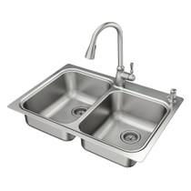 "Moen LAINIE 33""X22"" Stainless Steel 18 Gauge Double Bowl Undermount Or Drop In Sink"
