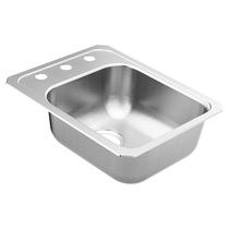 """Moen 2000 Series 14-1/2""""X12-1/2"""" Stainless Steel 20 Gauge Single Bowl Sink three hole"""