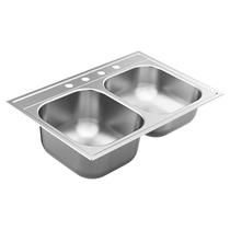 "Moen 2000 Series 33""X22"" Stainless Steel 20 Gauge Double Bowl Drop In Sink 4 hole"