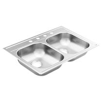 """Moen 2000 Series 33""""X22"""" Stainless Steel 20 Gauge Double Bowl Drop In Sink 4 holes"""