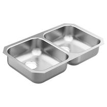 """Moen 2000 Series 31-3/4""""X18-1/4"""" Stainless Steel 20 Gauge Double Bowl Sink"""