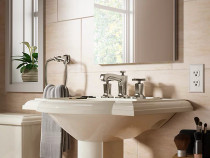 Kohler Margaux®Widespread bathroom sink faucet with cross handles in Vibrant Polished Nickel