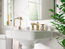Kohler Margaux®Widespread bathroom sink faucet with cross handles in Vibrant French Gold