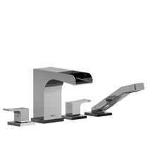 Riobel Zendo 4-Piece Deck-Mount Open Spout Tub Filler w/ Hand Shower