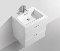 Blizz 24″ White Wall Mount Modern Bathroom Vanity