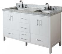 Ultra 60 inch White Double Sink Bathroom Vanity  **New