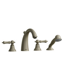 Riobel Classic Provence 4-Piece Deck-Mount Tub Filler with Hand Shower Brushed Nickel