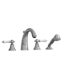 Riobel Classic Provence 4-Piece Deck-Mount Tub Filler with Hand Shower Chrome/White