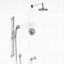 """Riobel Classic Type T/P 1/2"""" Coaxial 3-Way System with Hand Shower Rail, Shower Head and Spout Polished Nickel"""