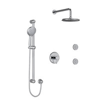 """Riobel Classic Type T/P 1/2"""" Coaxial 3-Way System, Hand Shower Rail, Elbow Supply, Shower Head and 2 Body Jets Chrome"""