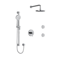 """Riobel CS Type T/P 1/2"""" Coaxial 3-Way System, Hand Shower Rail, Elbow Supply, Shower Head and 2 Body Jets Chrome"""