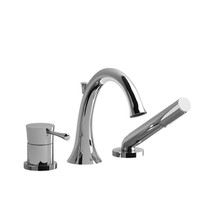 Riobel Edge 3-Piece Deck-Mount Tub Filler with Hand Shower Chrome