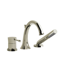 Riobel Edge 3-Piece Deck-Mount Tub Filler with Hand Shower Polished Nickel
