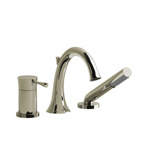 Riobel Edge 3-Piece Type P (Pressure Balance) Deck-Mount Tub Filler with Hand Shower Polished Nickel