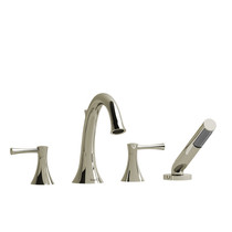 Riobel Edge 4-Piece Deck-Mount Tub Filler with Hand Shower Polished Nickel
