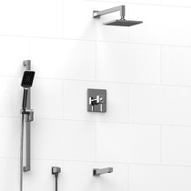 """Riobel Mizo Type T/P 1/2"""" Coaxial 3-Way System with Hand Shower Rail, Shower Head and Spout Chrome"""