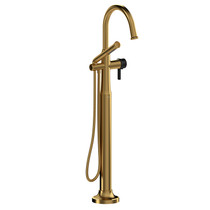 Riobel Momenti 2-Way Type T (Thermostatic) Coaxial Floor-Mount Tub Filler with Hand Shower Brushed Gold/Black