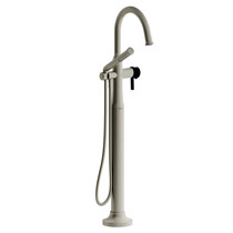 Riobel Momenti 2-Way Type T (Thermostatic) Coaxial Floor-Mount Tub Filler with Hand Shower Brushed Nickel/Black