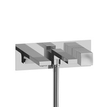 Riobel Reflet Wall-Mount Type T/P Coaxial Tub Filler with Hand Shower Chrome
