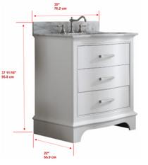 Lucy 30 inch White Bathroom Vanity