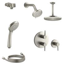 Kohler Awaken Thermostatic Shower System with Multi Function B90 Shower Head, Hand Shower, Rain Head, Stacked Valve Trims Brushed Nickel Finish