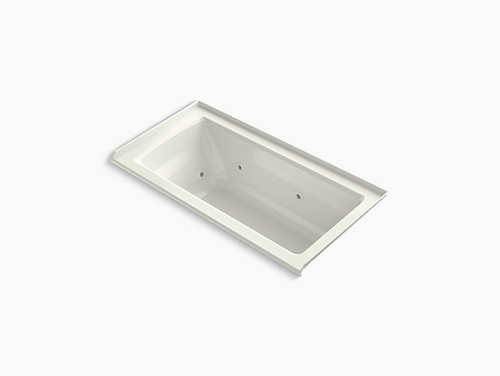"""Kohler Archer® 60"""" x 30"""" alcove whirlpool with integral flange and right-hand drain in Dune"""