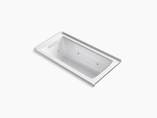"Kohler Archer® 60"" x 30"" alcove whirlpool with integral flange and left-hand drain in White"